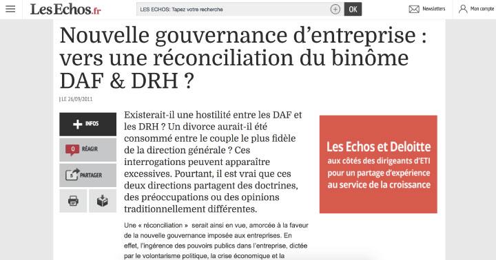 Référence Client aSpark Consulting - CACIB   Revue de presse, Les Echos.